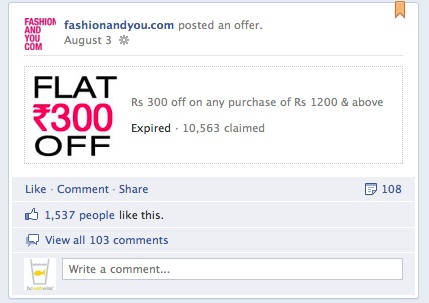 Fashionandyou.com Facebook Offers