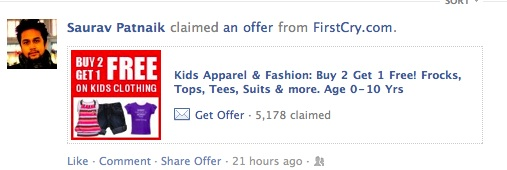 First Cry Offer on Facebook Availed By Fan